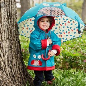 Skip Hop unisex blue and red owl raincoat sz M